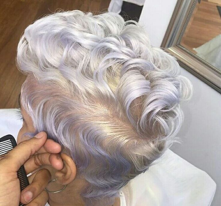 Gray and Lavender long pixie cut                                                                                                                                                                                 More
