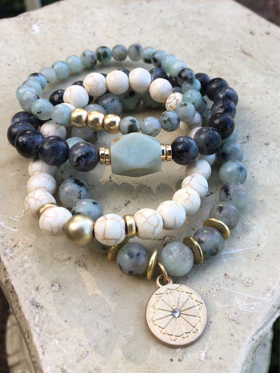 jewelry for women blue jasper druzy agate and jade bracelet set Natural gemstone bead bracelets stretch bracelet set of three