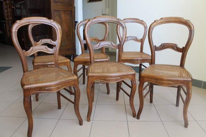 Sei sedie noce Luigi Filippo paglia Vienna, Restaurate. 1880