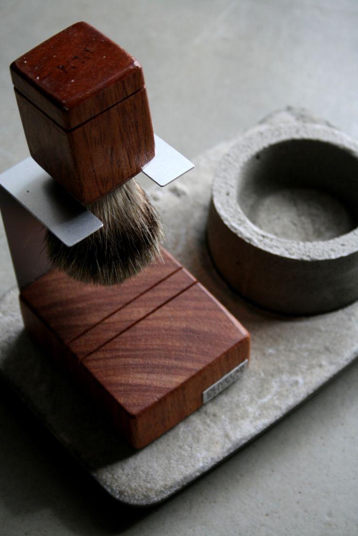 handcrafted shaving set  -niangon wood, aluminum, pure badger bristle, concrete
