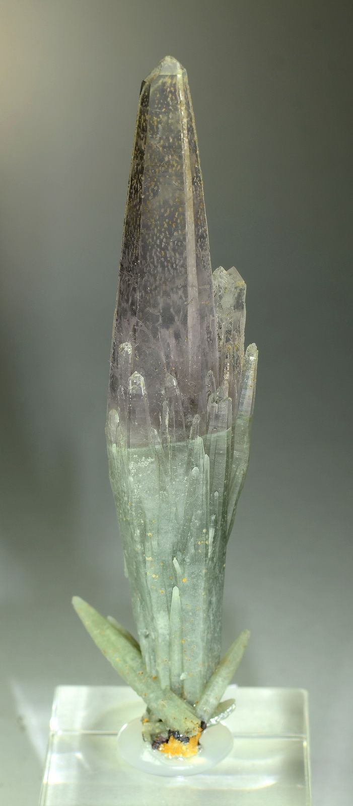 Quartz var.Amethyst and Prase - Serifos Island, Greece Size: 9.4 x 2.6 x 1.8 cm