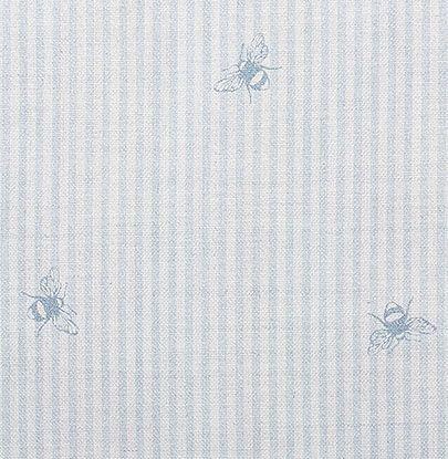 Powder Puff Blue Bee Pinstripe Linen by Peony and Sage Fabrics