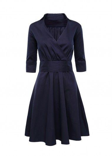 Three Quarter Sleeve Navy Blue High Waist Dress   Rosewe.com - USD $27.33