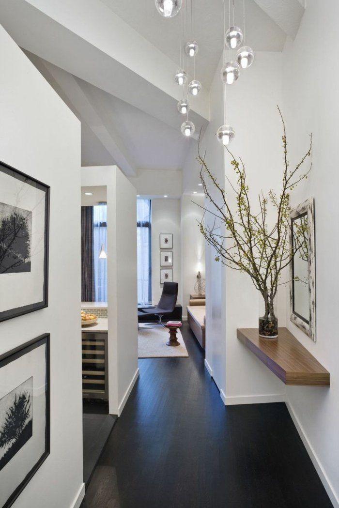 sol en parquet noir, murs blancs, décoration avec plantes décoratives, couloir élégant