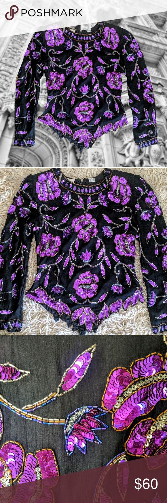 Vintage Sequin Blouse Dramatic silk & sequin floral long sleeve top, from the 1980s. V hem detail, scoop neck, zip back. Sz M. In great vintage condition no missing sequins or wear, truly stunning piece. AskJenHowe Tops
