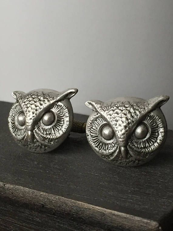 Silver Steampunk Cufflinks Men's Cufflinks  Owl Cufflinks