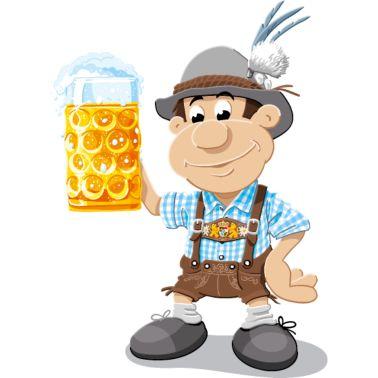 Männer T-Shirt Bier Maßkrug Lederhosen Cartoon Man