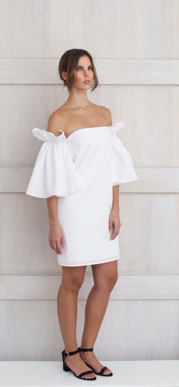 Alejandra Isaac Resort 2016 Sira Short Dress 100% Cotton White