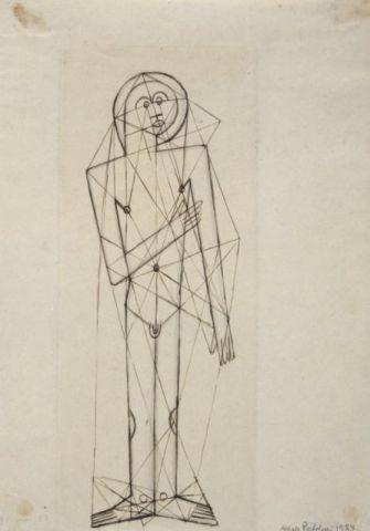 Alfredo Bortoluzzi – Männliche Figur in Konstruktionslinien, Bauhaus Dessau Unterricht Klee, 1927