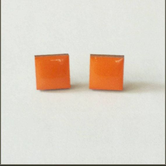 Check out this item in my Etsy shop https://www.etsy.com/listing/229935123/wood-stud-earrings-orange