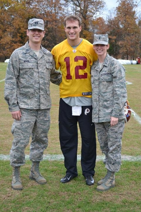 #Redskins players and coaches joined with USAA to welcome Airmen and women from Andrews Air Force Base on Veterans Day 2012.