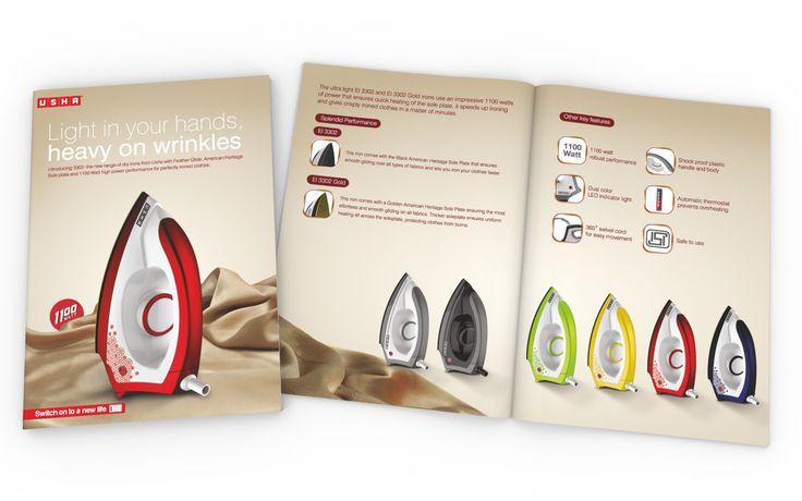 Brochure Design of Dry Iron Range for USHA INTERNATIONAL