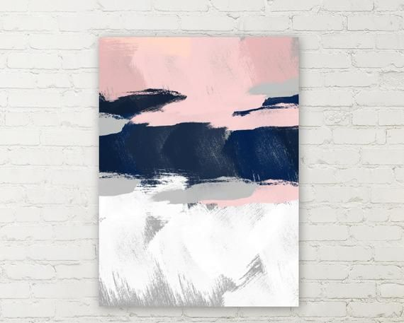 Abstract Wall Art Colors Are Shades Of Pink Blues Grey And White Canvas Prints For This Piece Are A Pink Gray Bedroom Blue Gray Bedroom Pink Bedroom Decor