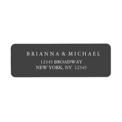 simple charcoal and white return address label create your own gifts cards customize design template