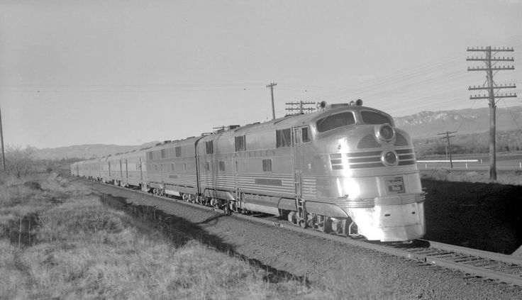 "aryburn-trains:  "" C&S train, engine number 9950 + additional diesel unit, engine type EMC E5  Train #22, Texas Zephyr; 7 cars, 35 MPH. Photographed: North of Littleton, Colo., April 6, 1941.  """