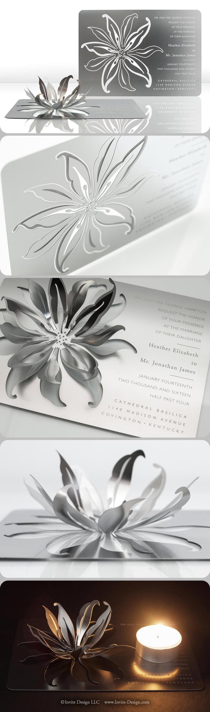 Lily metal wedding invitation mails flat, then transforms into a sculpture or candleholder with a few easy folds of the metal. It's eco-friendly because guests keep it, AND it doubles as a favor. http://www.invite-design.com/#!product/prd12/2202319295/lily-invitation