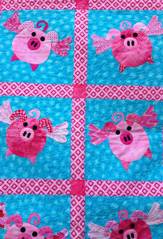 Appliqued Pink Flying Pigs Quilt Or Wallhanging By