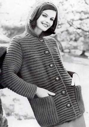 Hooded Coat Sweater, Sizes 10 to 12, 14 to 16 and 18 to 20 | Free Knitting Patterns