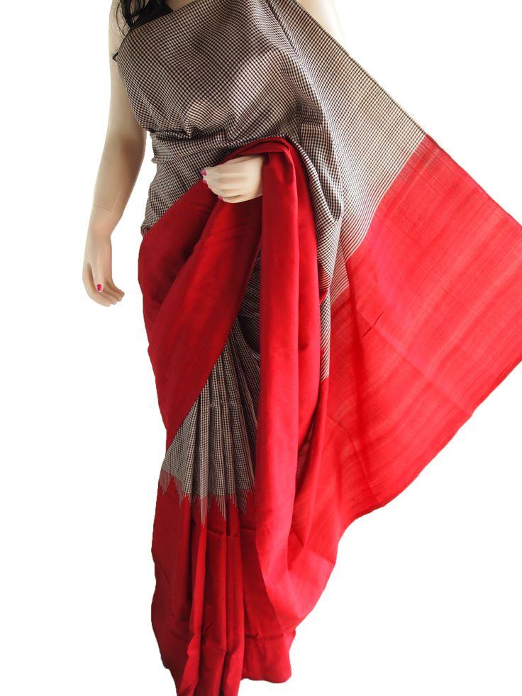 Maroon Pure Silk Saree With Temple Design