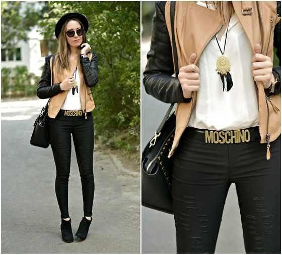 Moschino Belt, Romwe Jacket, Zara Booties, Miu Miu Sunnies