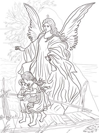 click children are protected by guardian angel coloring page for printable version