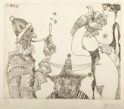 """Auction Lot: 35006443. Pablo PICASSO (Malaga, Spain, 1881 - Mougins, France, 1973). """"Ensueños de opio: fumador con solideo papal descubriendo el misterio de la Trinidad en los pechos y la paloma de una mujer, con bufón de sombrero triangular detrás"""", Suite 347, 1968. Etching, 36/50. Published by Louise Leiris Gallery, Paris. Hand signed and numbered. Plate dated. 16.5 x 20.5 cm (plate), 24.5 x 32 cm (sheet), 51 x 54 cm (frame)."""