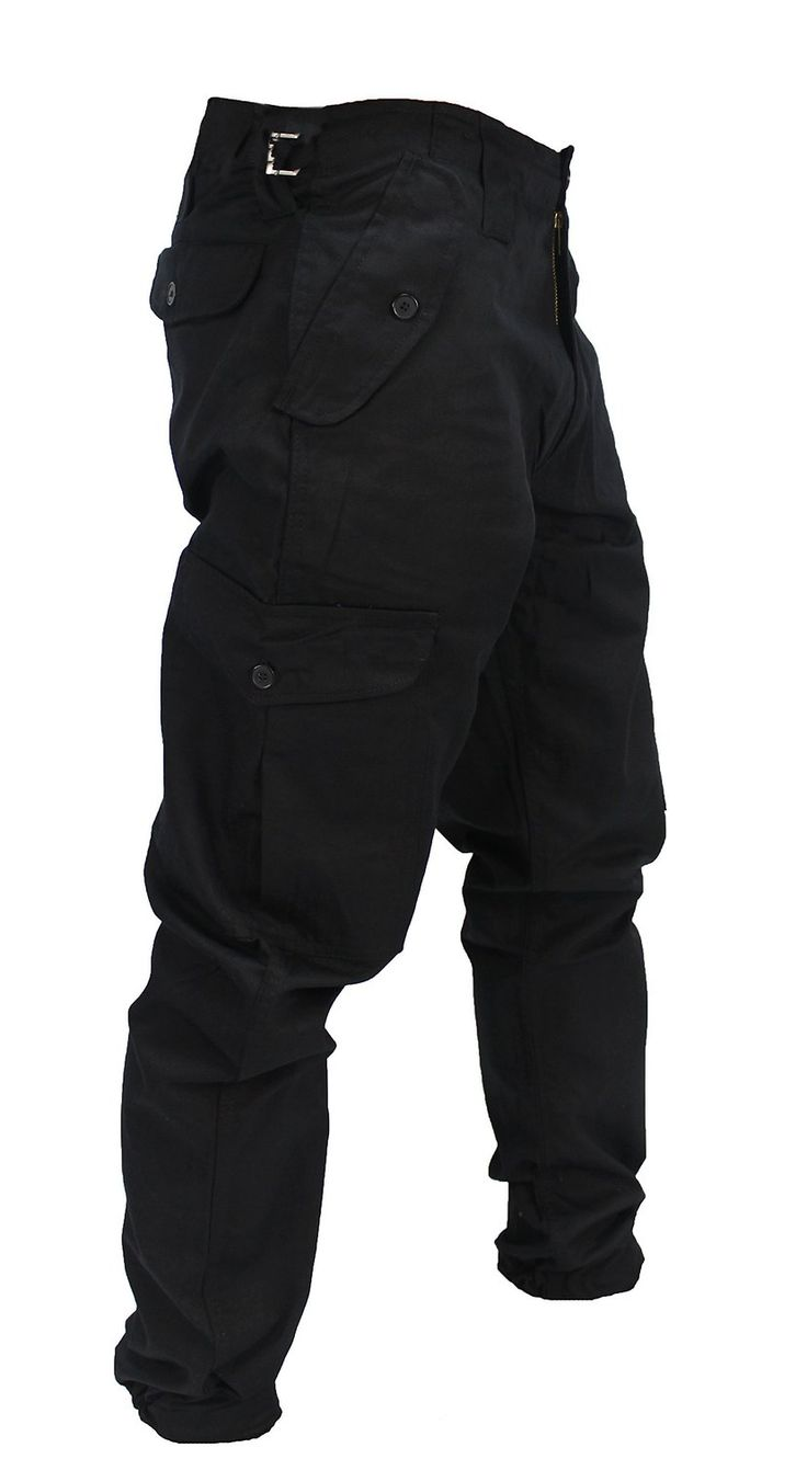 WWK Mens Army Combat Work Trousers Pants Combats Cargo - Black - 36""