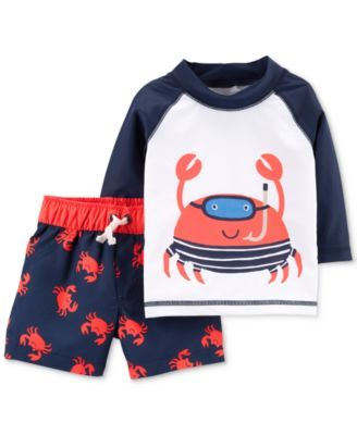 0b7d5b295e8c4 Baby Boys 2-Pc. Rash Guard & Swim Trunks Set | SWIM | Carters baby ...