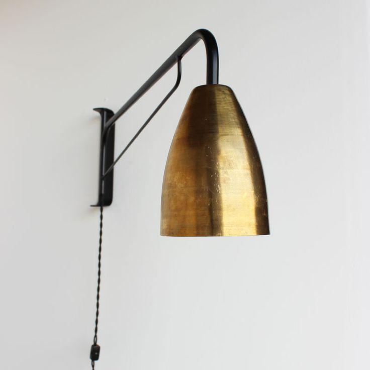 Swinging brass shade wall lamp, onefortythree