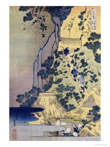 Travellers Climbing Up a Steep Hill to Pay Homage to a Kannon Shrine in a Cave by the Waterfall Prints by Katsushika Hokusai at AllPosters.com