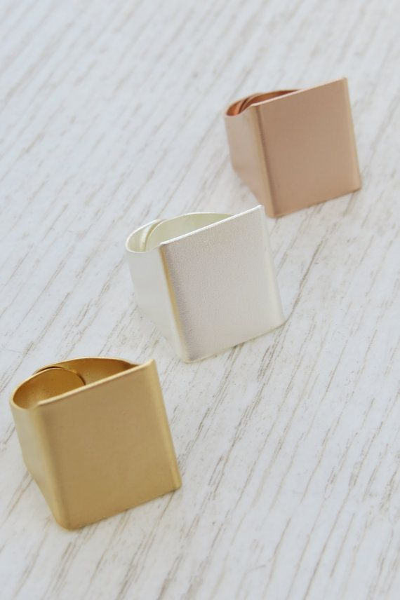 Adjustable ring Set of 3 wide rings Square ring by HLcollection, $59.00