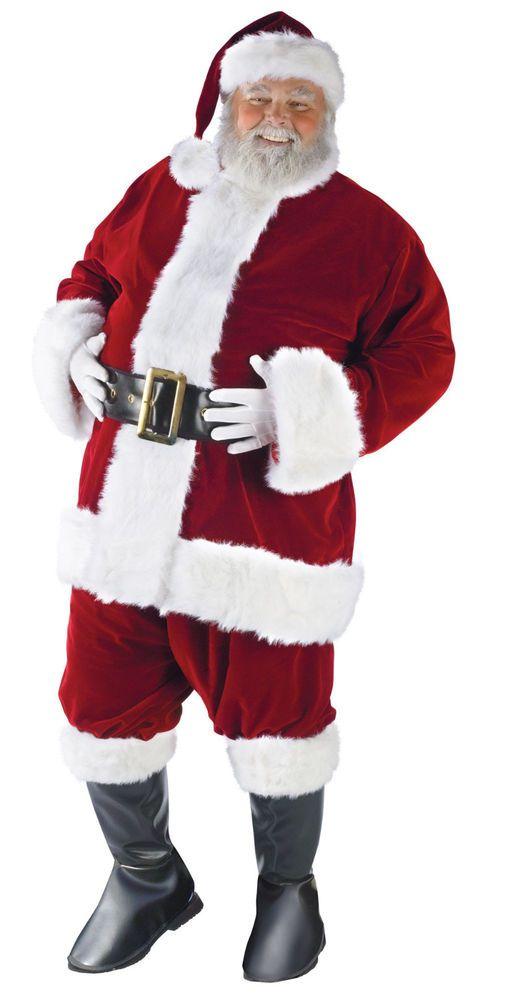$99 ULTRA VELVET SANTA CLAUS SUIT 40-48 Deluxe Professional Mens Costume Fun World