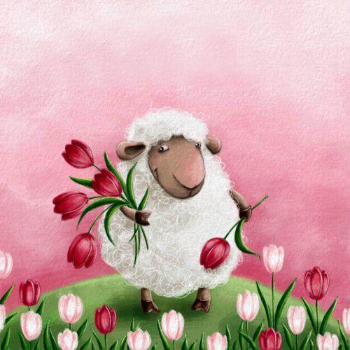 Днем, открытка с овечкой