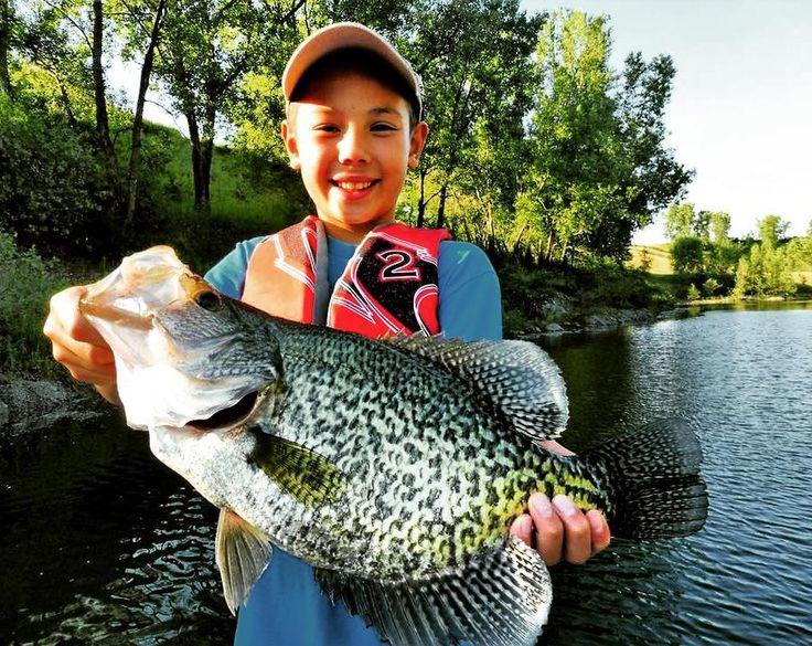 """Bruce Condello and his nephew Mason caught  this crapppie measuring  19 1/2 """" in nebraska"""