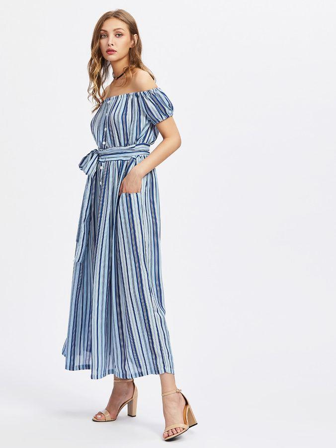 Shein Bardot Vertical Striped Dress With Self Tie