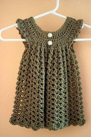 Crochet baby dress.