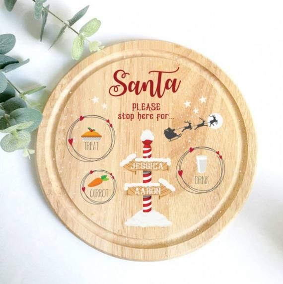 Wooden Father Christmas Santa Treat Plate 25cm rustic