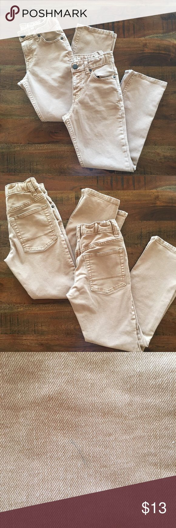 2️⃣ Bundle Boys Cat & Jack Tan Jeans Buy 2 Bundle adjustable waist boys Cat & Jack Regular/Straight tan color jeans in size 8. Best fit for a regular/husky boy. Good condition with two minor flaws (see pics). The pics do not reflect the correct color. It's more like a camel color. Great buy! Cat & Jack Bottoms Jeans