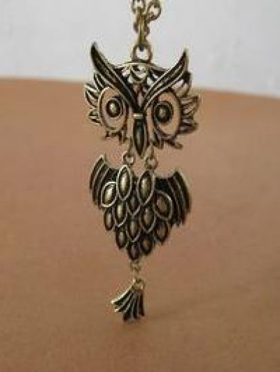 Gold Hollow Owl Necklace pictures