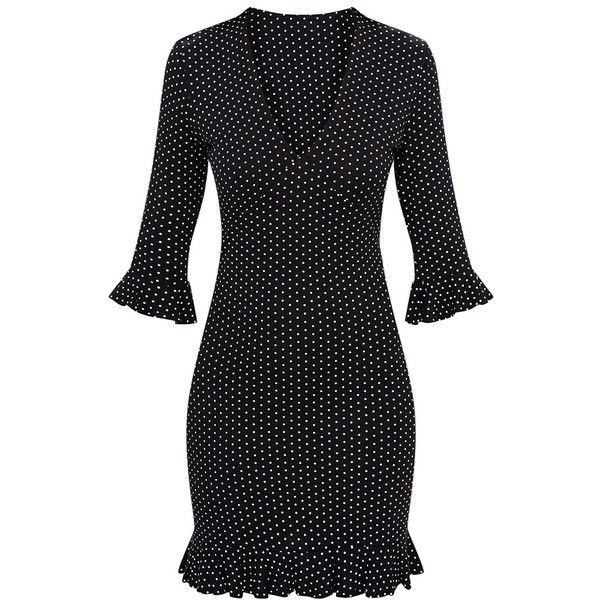 Black Polka Dot Frill Hem Shift Dress ($30) ❤ liked on Polyvore featuring dresses, spotted dress, polka dot print dress, ruffle hem shift dress, shift dress and polka dot shift dress