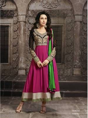 Karishma Kapoor Beautiful Pink Long Sleeve Anarkali Suit