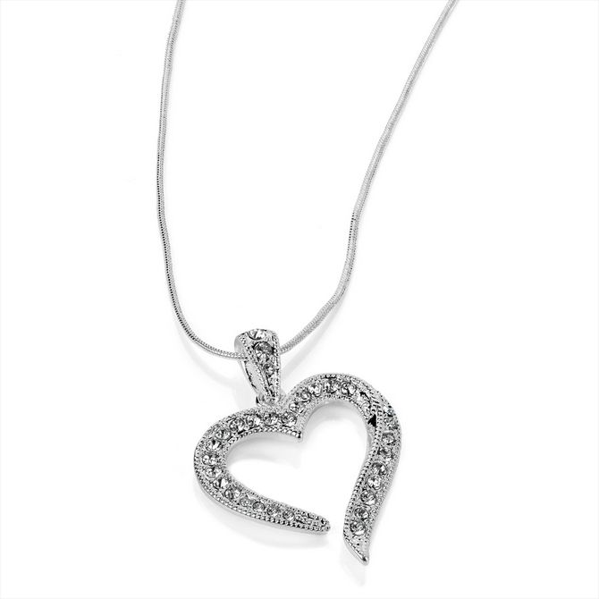 Silver Crystal Heart Fashion Necklace - in just £12.99