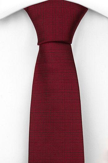 Seide Schmale krawatte - rot mit diskretem, schwarzen Karomuster - Notch ETIENNE