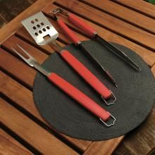 Perfect Chef 3-Piece BBQ Tool Set With Red Handles