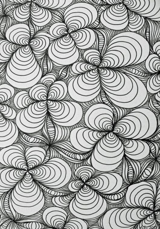 Zentangle Curves Zen Easy Illustration Markers Black