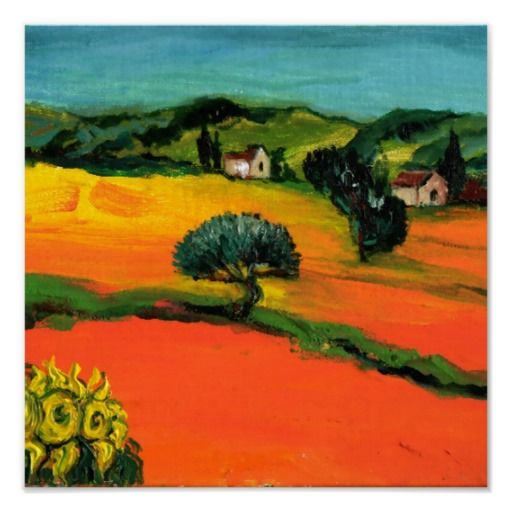 TUSCANY LANDSCAPE WITH SUNFLOWERS POSTERS