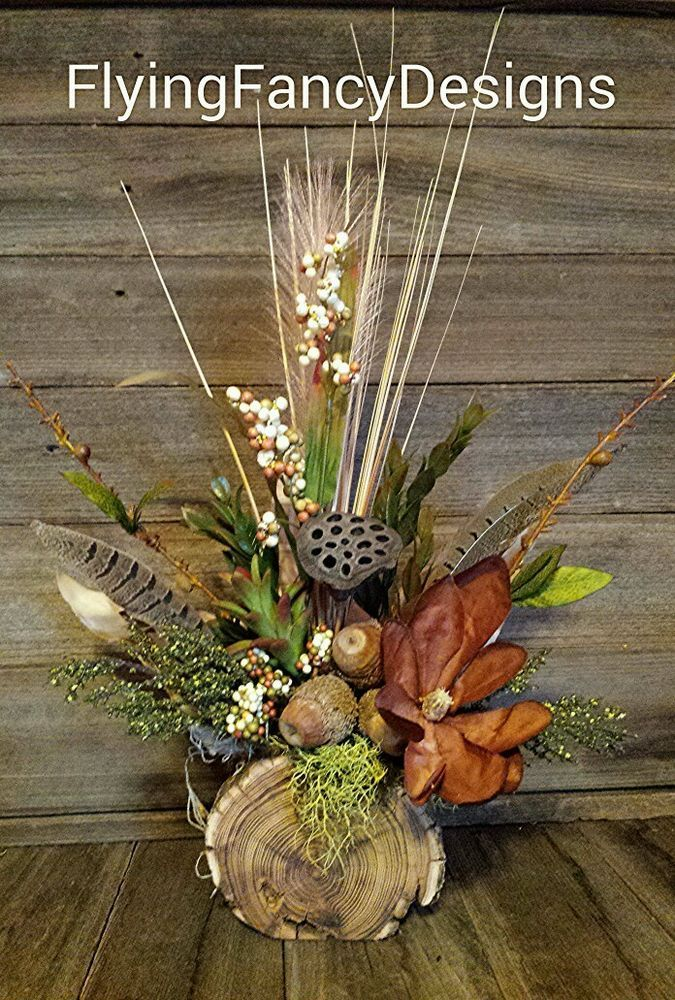 Rustic Reclaimed Wood Magnolia Feather Silk Dried Floral Flower Arrangement in Home & Garden | eBay