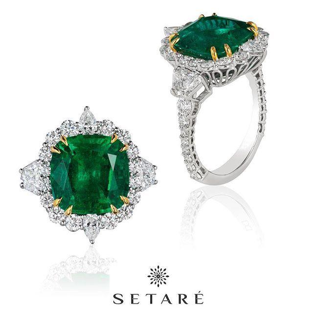 Setare'. A superb 6.30 carat cushion cut Zambian emerald mounted in a signature Setare' setting. #Emerald #Diamonds #Platinum #Craftsmanship #Artistry #Finest #LuxuryJewelry