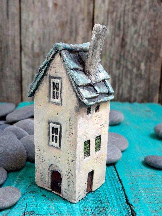 Old French house green roof - OOAK porcelain mini house- handmade ceramic miniature