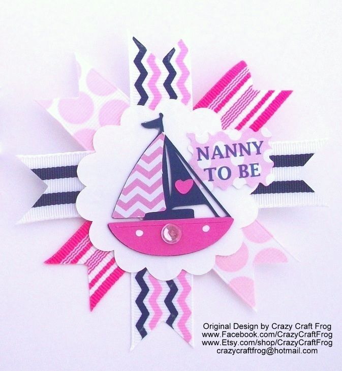 Nautical Girl Pink Grandmau0027s Baby Shower Corsage Or Pin Or Mum For Aunts,  Hostess,